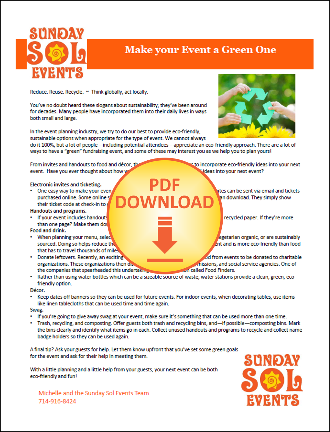 MAKE YOUR EVENT A GREEN ONE form | Sunday Sol Events